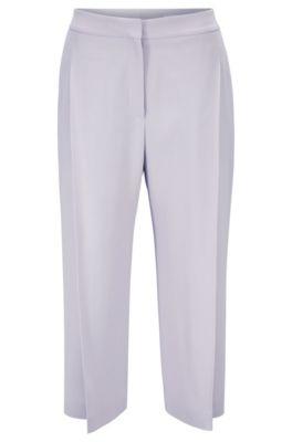 Cropped-Hose aus italienischem Krepp mit weitem Beinverlauf, Flieder