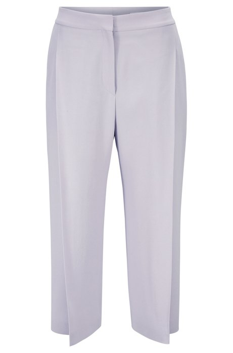Wide-leg cropped trousers in Italian satinback crepe, Light Purple
