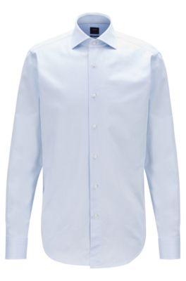Regular-fit shirt in micro-structured Italian cotton, Light Blue