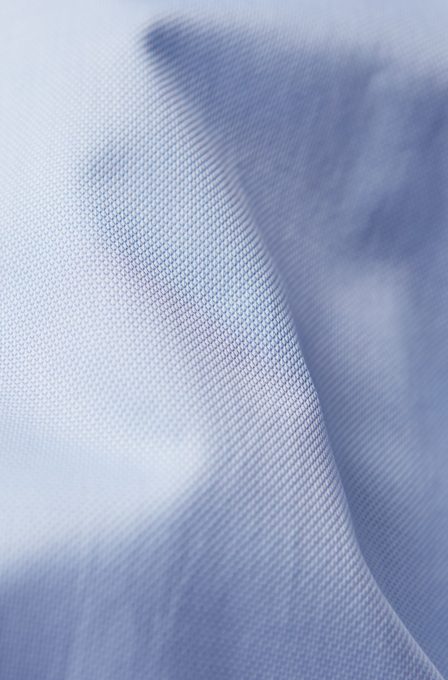 Regular-fit shirt in micro-structured Italian cotton, Light Blue