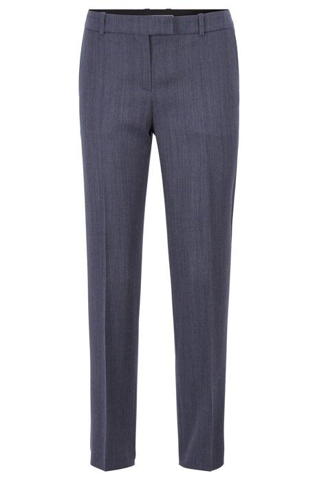 Relaxed-fit trousers in micro-patterned Italian virgin wool, Patterned