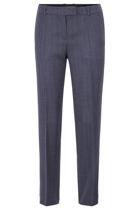 Pantalones relaxed fit en lana virgen italiana microestampada, Fantasía