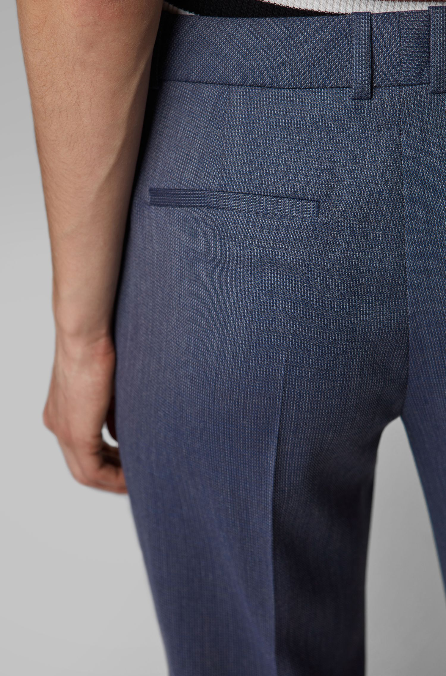 Pantalon Relaxed Fit en laine vierge italienne à micro motif, Fantaisie