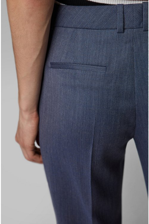 Hugo Boss - Relaxed-fit trousers in micro-patterned Italian virgin wool - 4