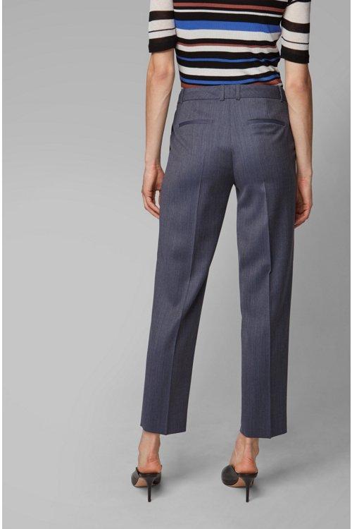 Hugo Boss - Relaxed-fit trousers in micro-patterned Italian virgin wool - 5