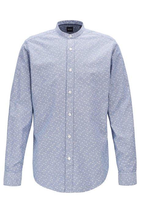 Camisa regular fit en algodón y lino con estampado geométrico, Azul oscuro