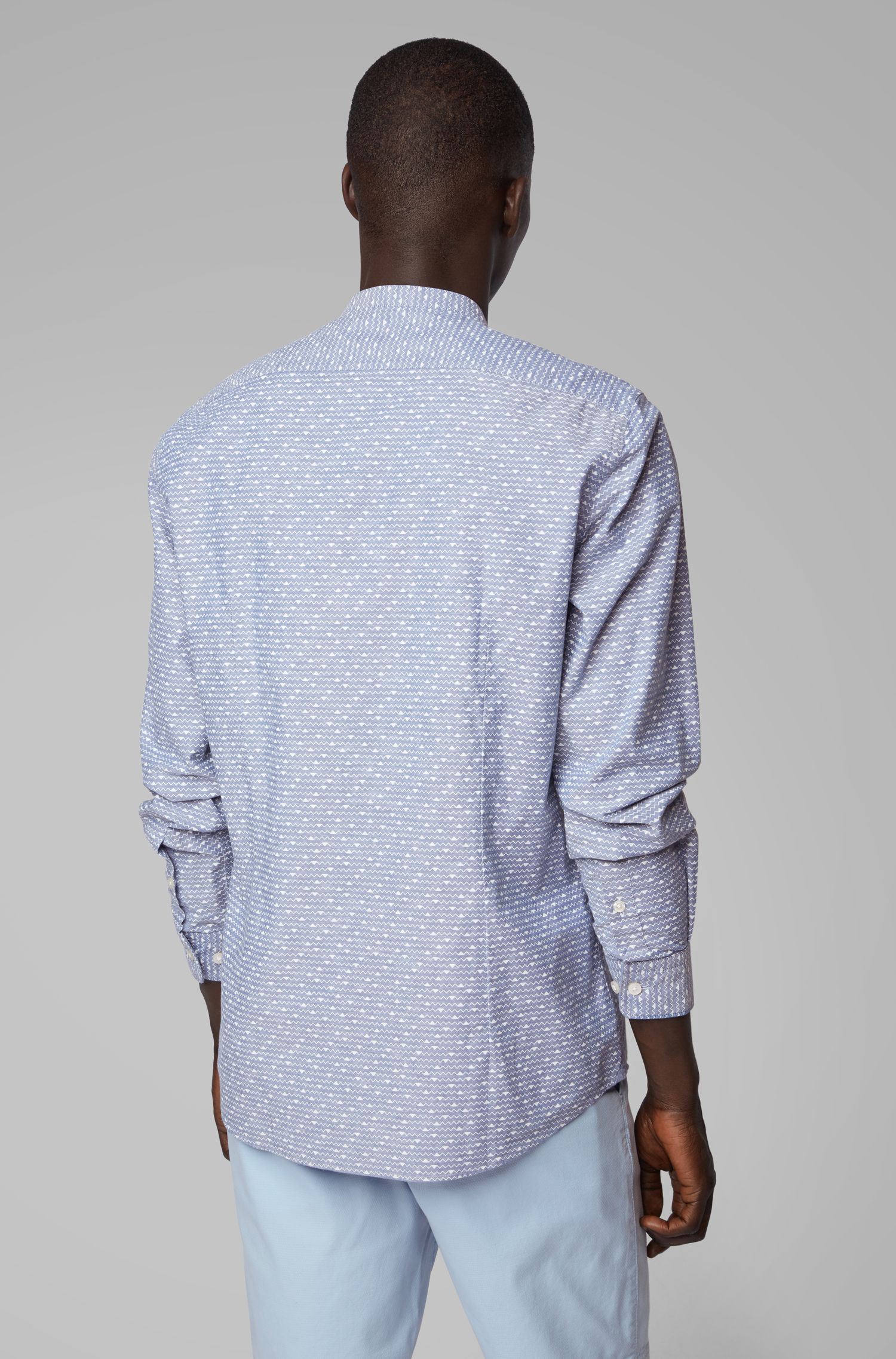 Regular-fit shirt in geometric-print cotton and linen, Dark Blue