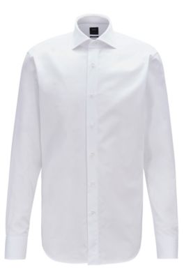 Camisa regular fit de algodón piqué con cuello italiano, Blanco