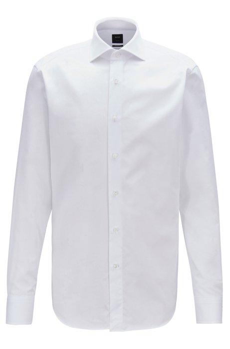 Camisa regular fit de algodón piqué con cuello italiano, Blanco