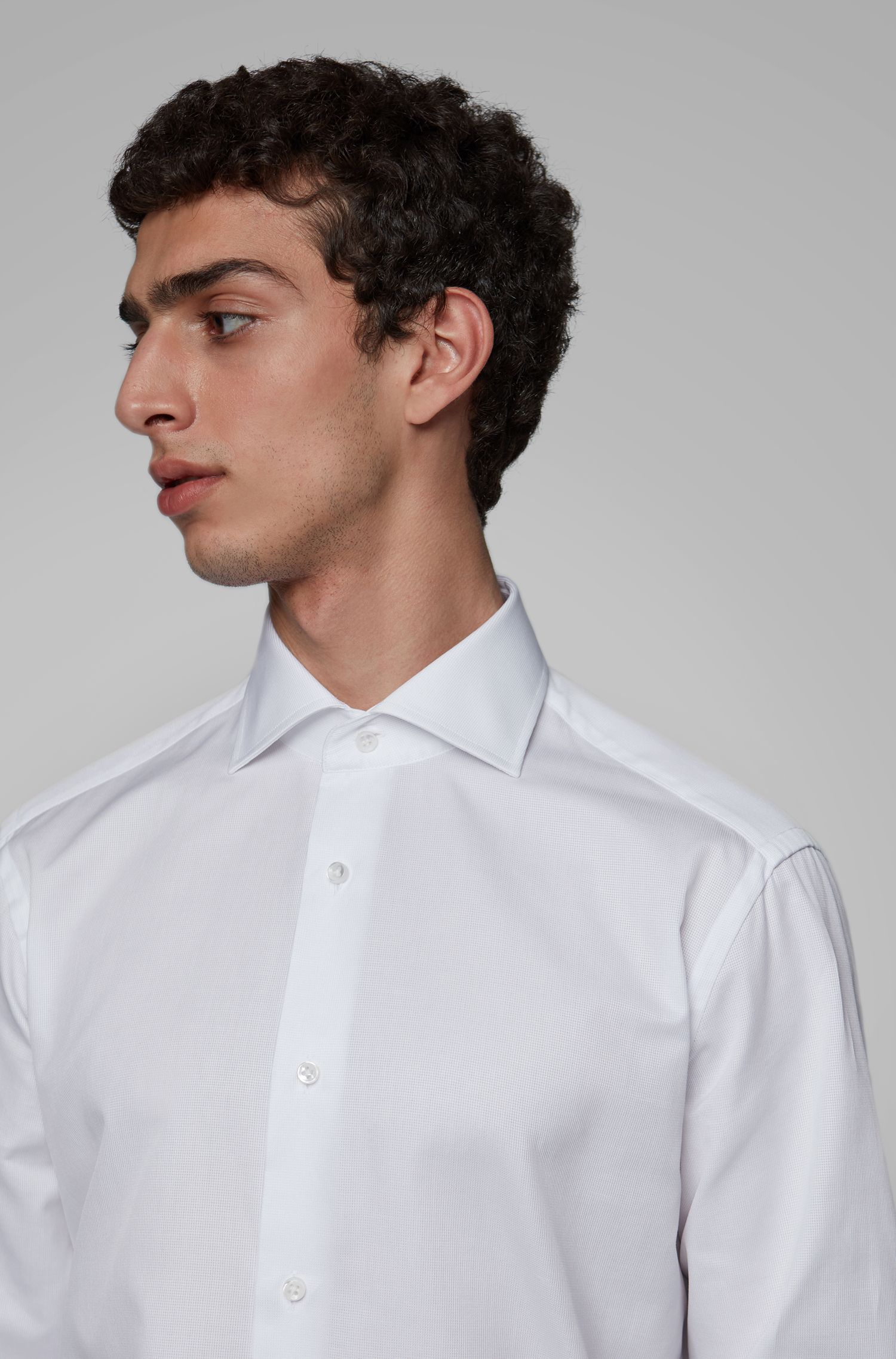 Regular-fit shirt in piqué cotton with spread collar, White