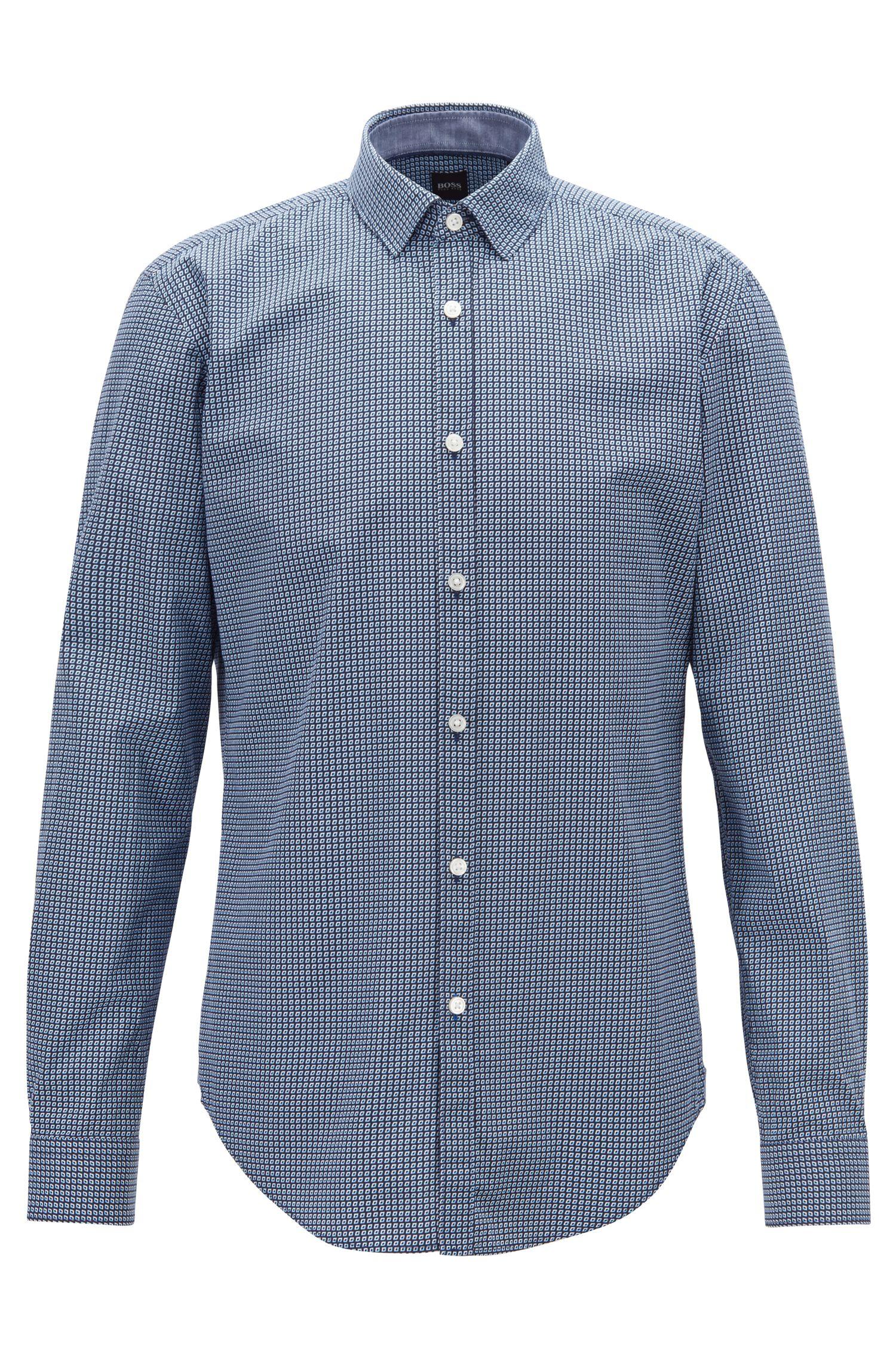 Camisa slim fit de popelín de algodón con estampado gráfico, Azul oscuro