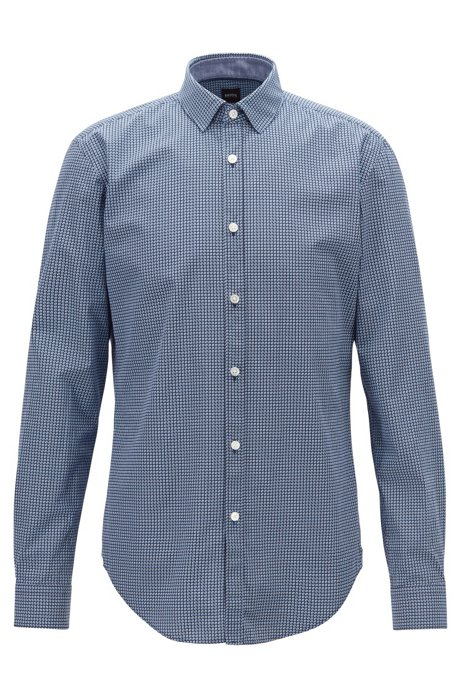 Slim-fit shirt in cotton poplin with graphic print, Dark Blue