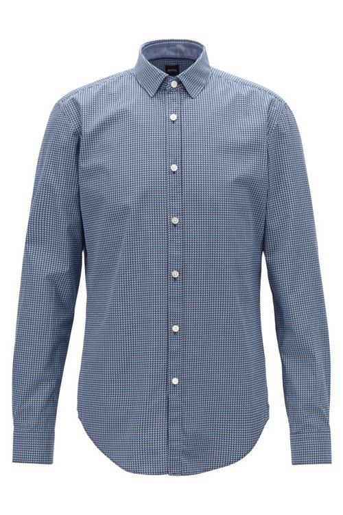 Hugo Boss - Slim-fit shirt in cotton poplin with graphic print - 1