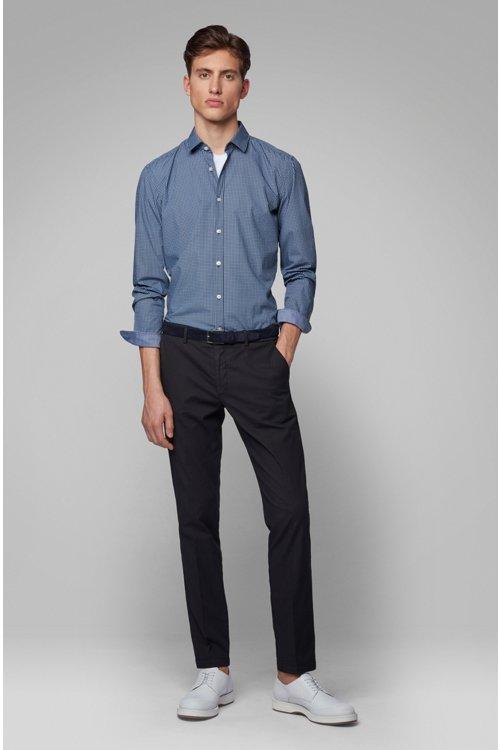 Hugo Boss - Slim-fit shirt in cotton poplin with graphic print - 3