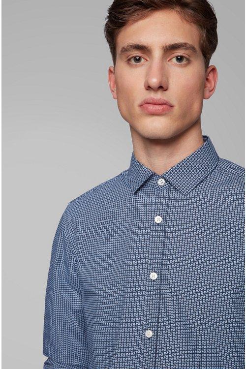 Hugo Boss - Slim-fit shirt in cotton poplin with graphic print - 4