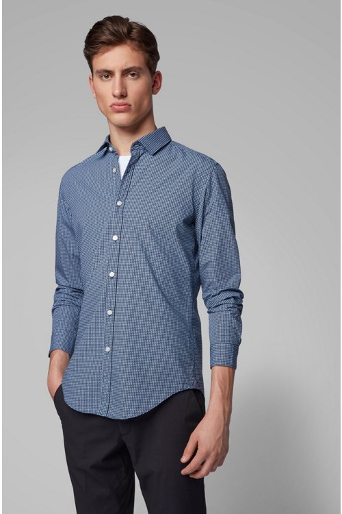 Hugo Boss - Slim-fit shirt in cotton poplin with graphic print - 2