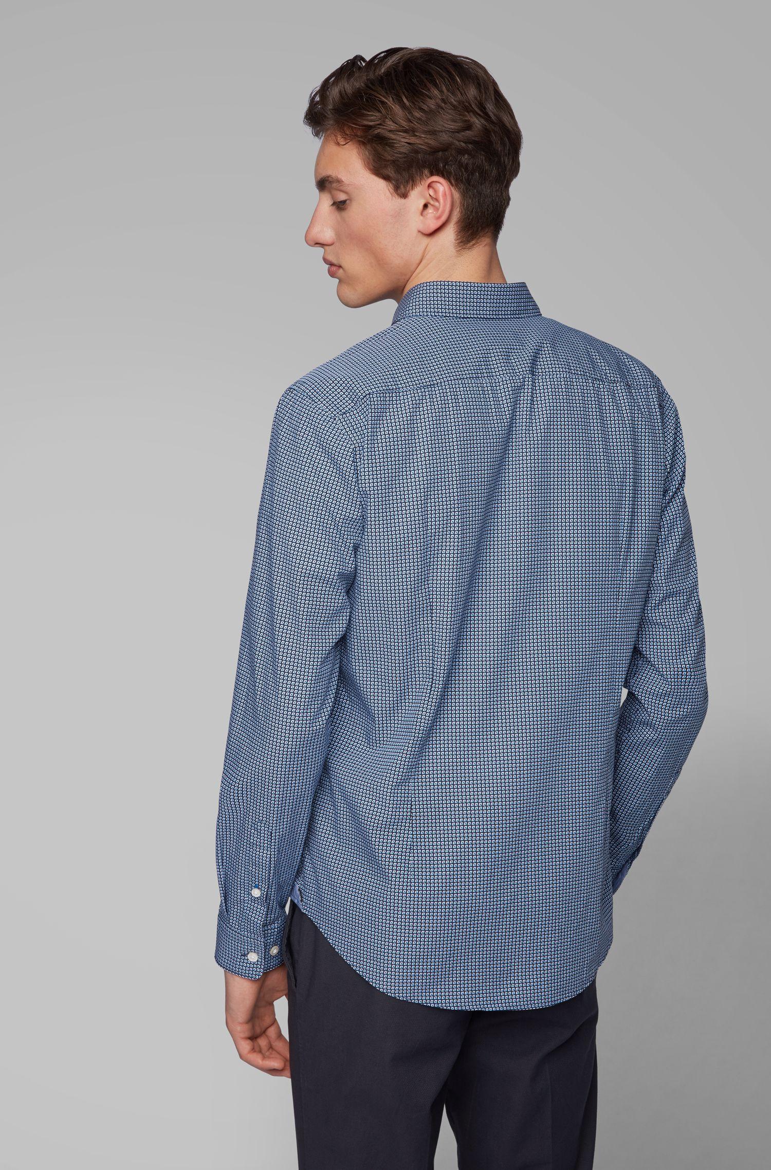 Chemise Slim Fit en popeline de coton à imprimé graphique, Bleu foncé