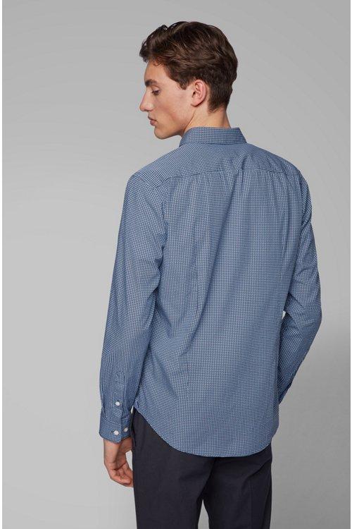 Hugo Boss - Slim-fit shirt in cotton poplin with graphic print - 5