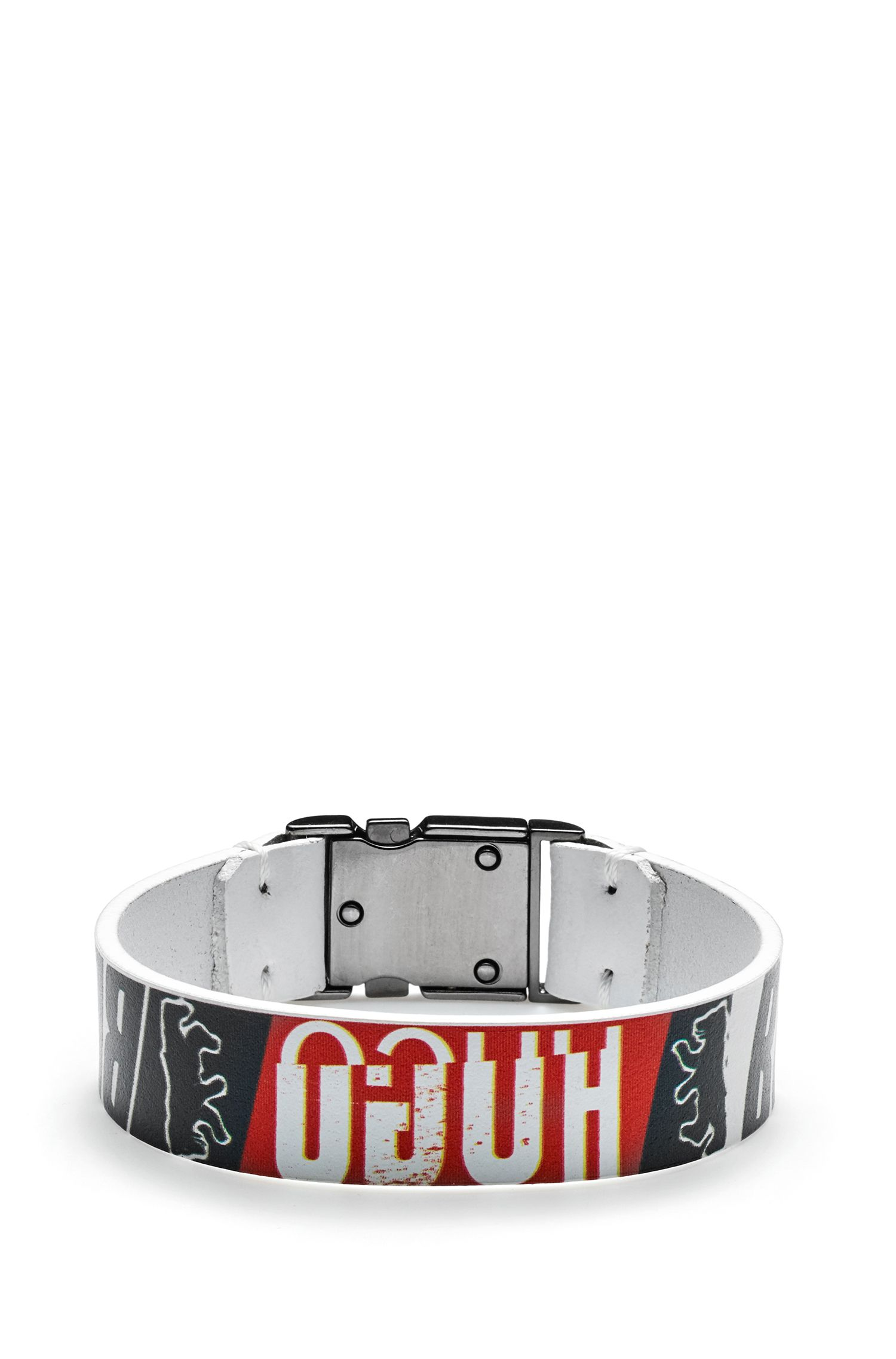 Italian-leather cuff with printed bear motif, Patterned