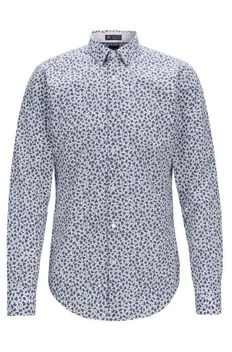 Camicia slim fit con stampa floreale di Thomas Mason, Blu scuro