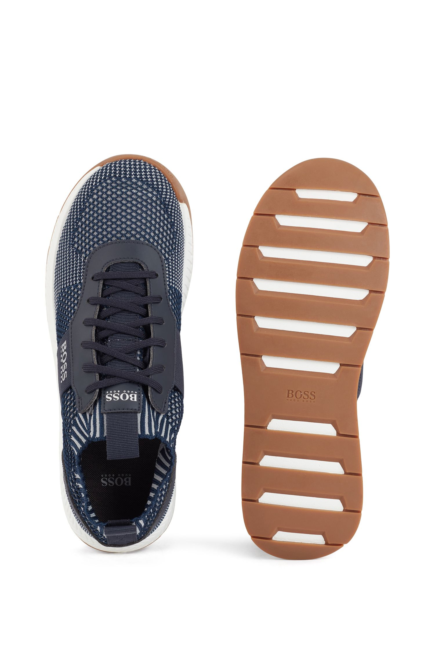 Running-inspired trainers with laces and knitted uppers, Dark Blue