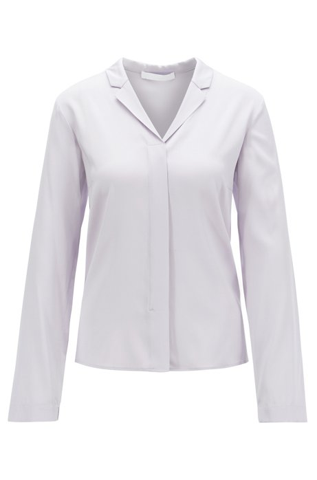 Regular-fit blouse van crêpe de Chine, Lichtpaars
