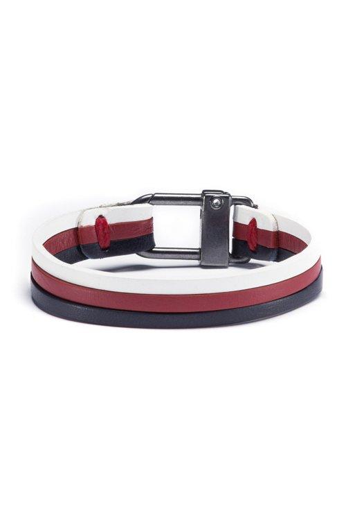 Hugo Boss - Three-strap cuff in nappa leather with logo closure - 1