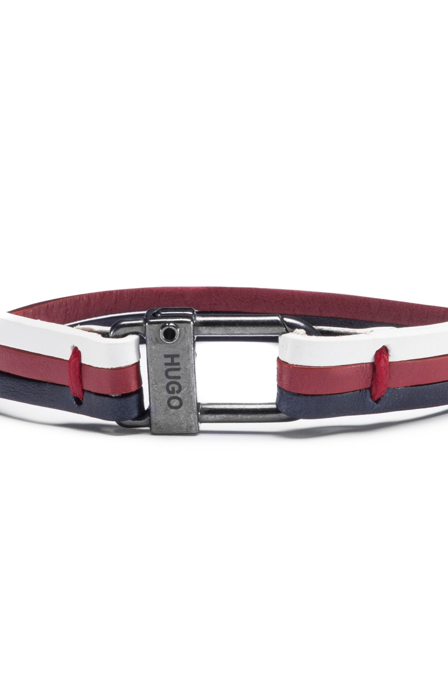 Three-strap cuff in nappa leather with logo closure, Patterned