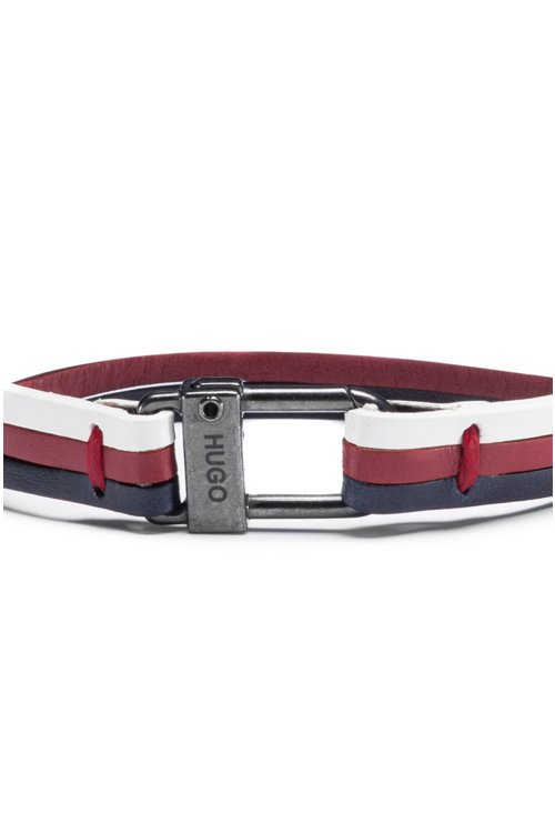 Hugo Boss - Three-strap cuff in nappa leather with logo closure - 3