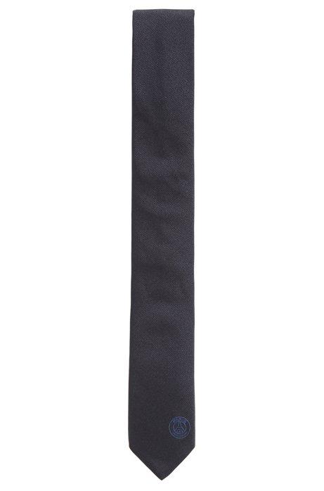 Corbata de seda de edición limitada con logo bordado del Paris Saint-Germain, Azul oscuro
