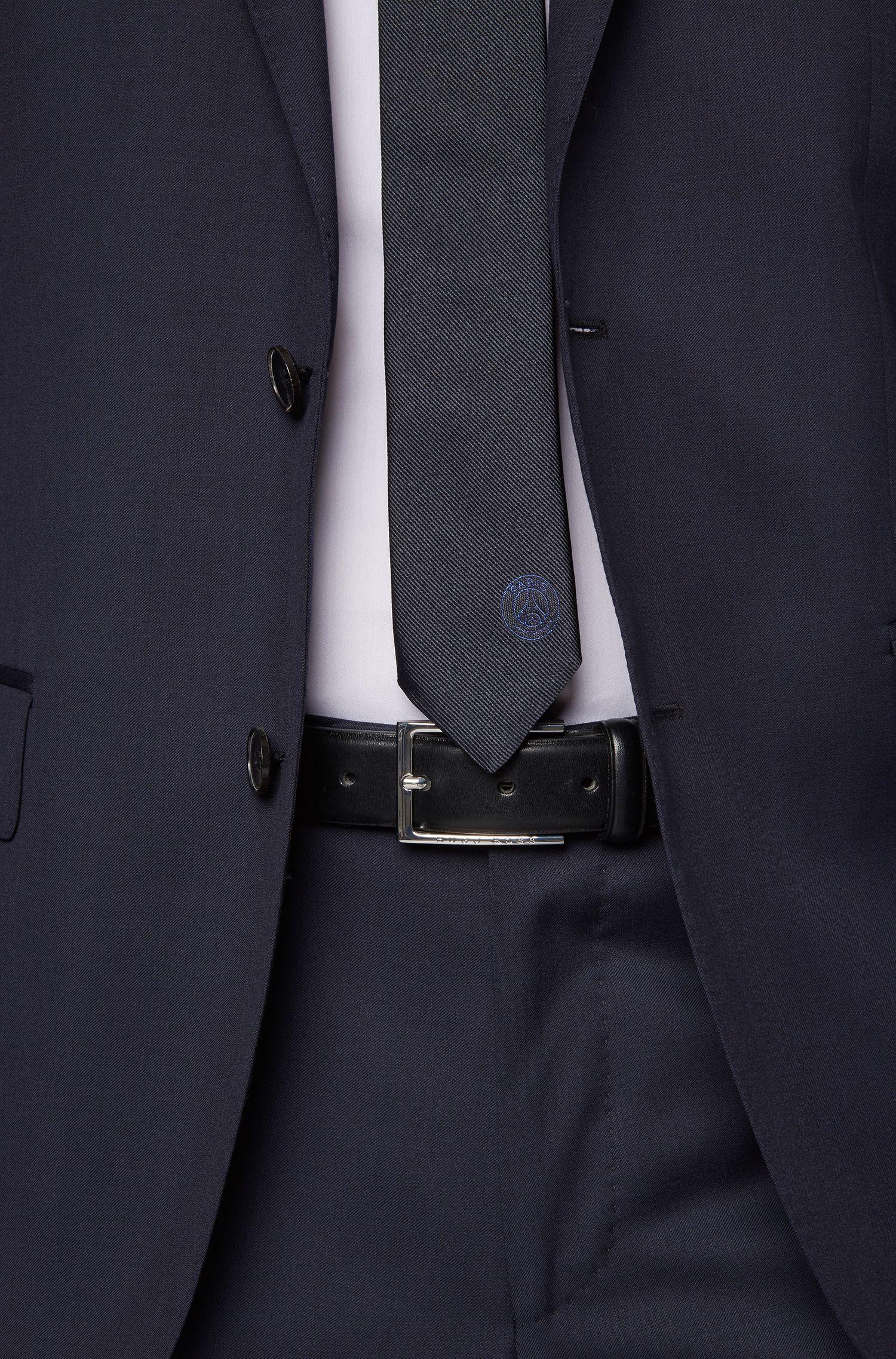 Cravatta in seta in edizione limitata con logo ricamato del Paris Saint-Germain, Blu scuro