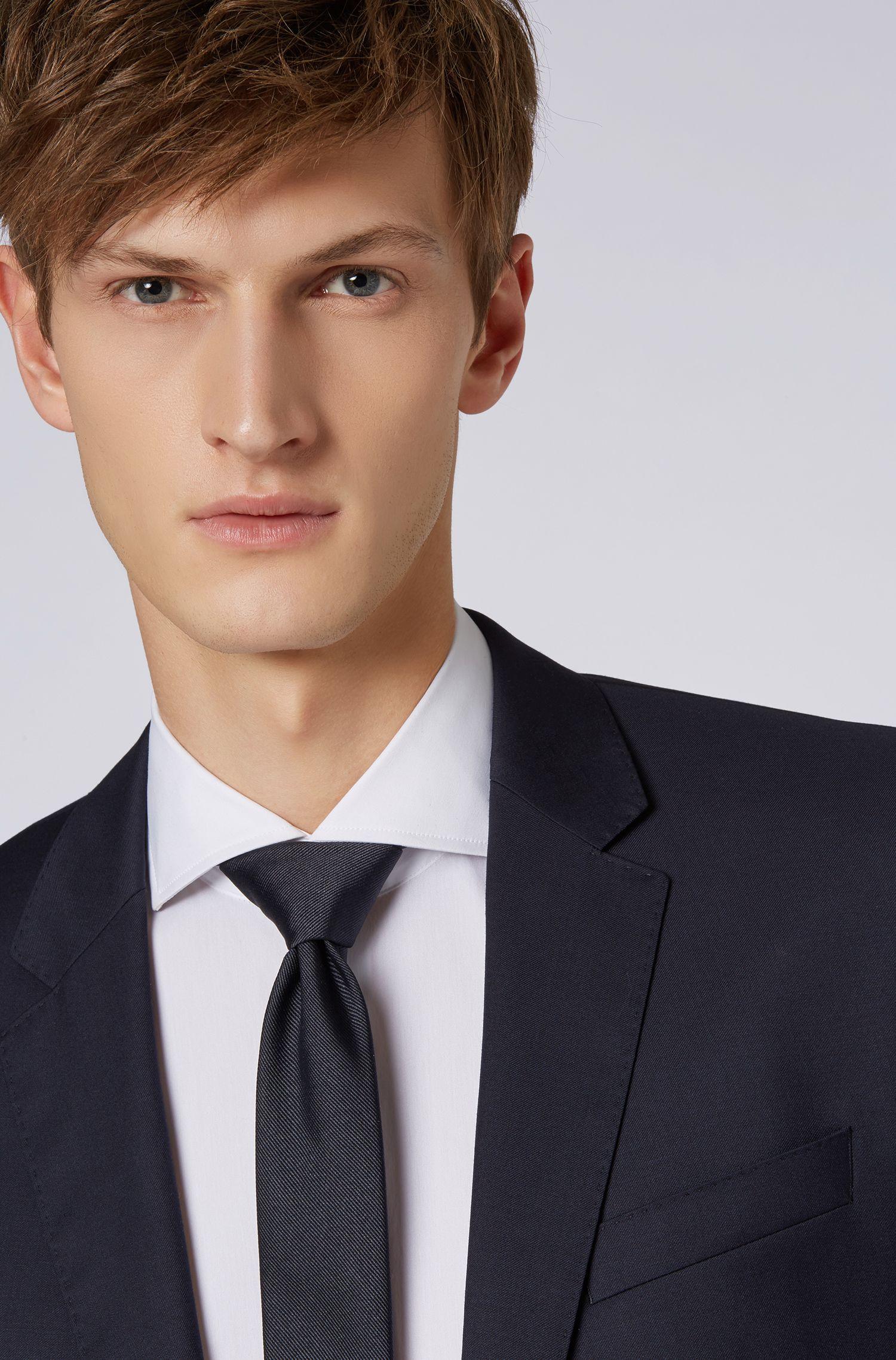 Limited-edition zijden stropdas met geborduurd logo van Paris Saint-Germain, Donkerblauw