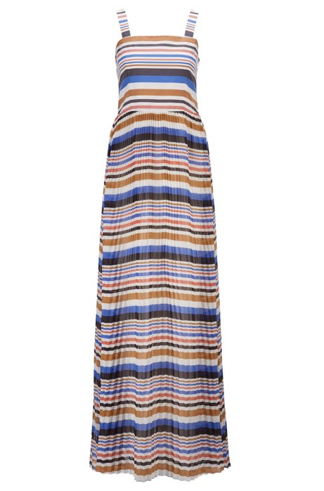 Slim-fit maxi dress with plissé skirt, Patterned
