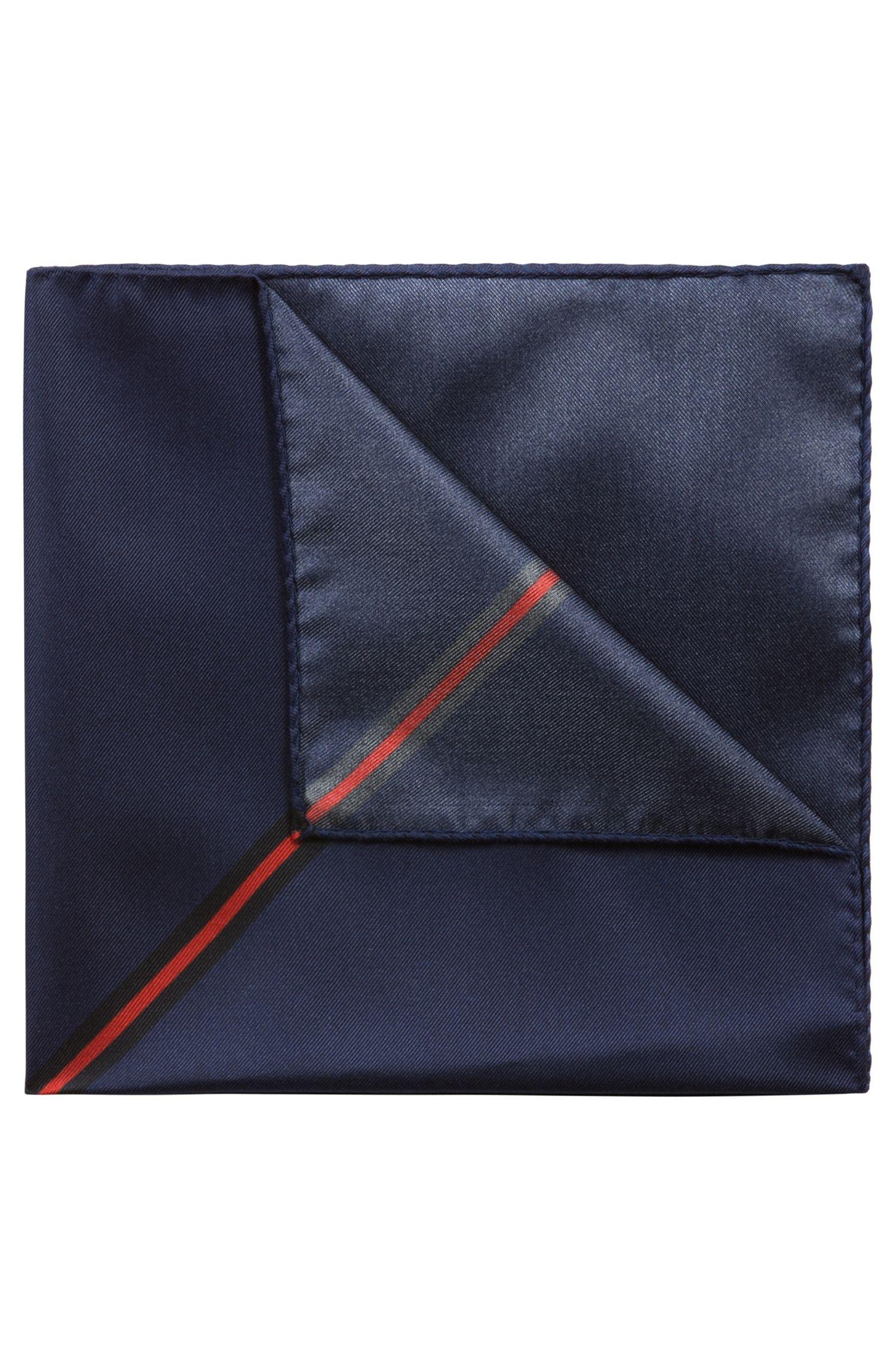Pochet in een zijden twill met digitaal bedrukte print, Donkerblauw