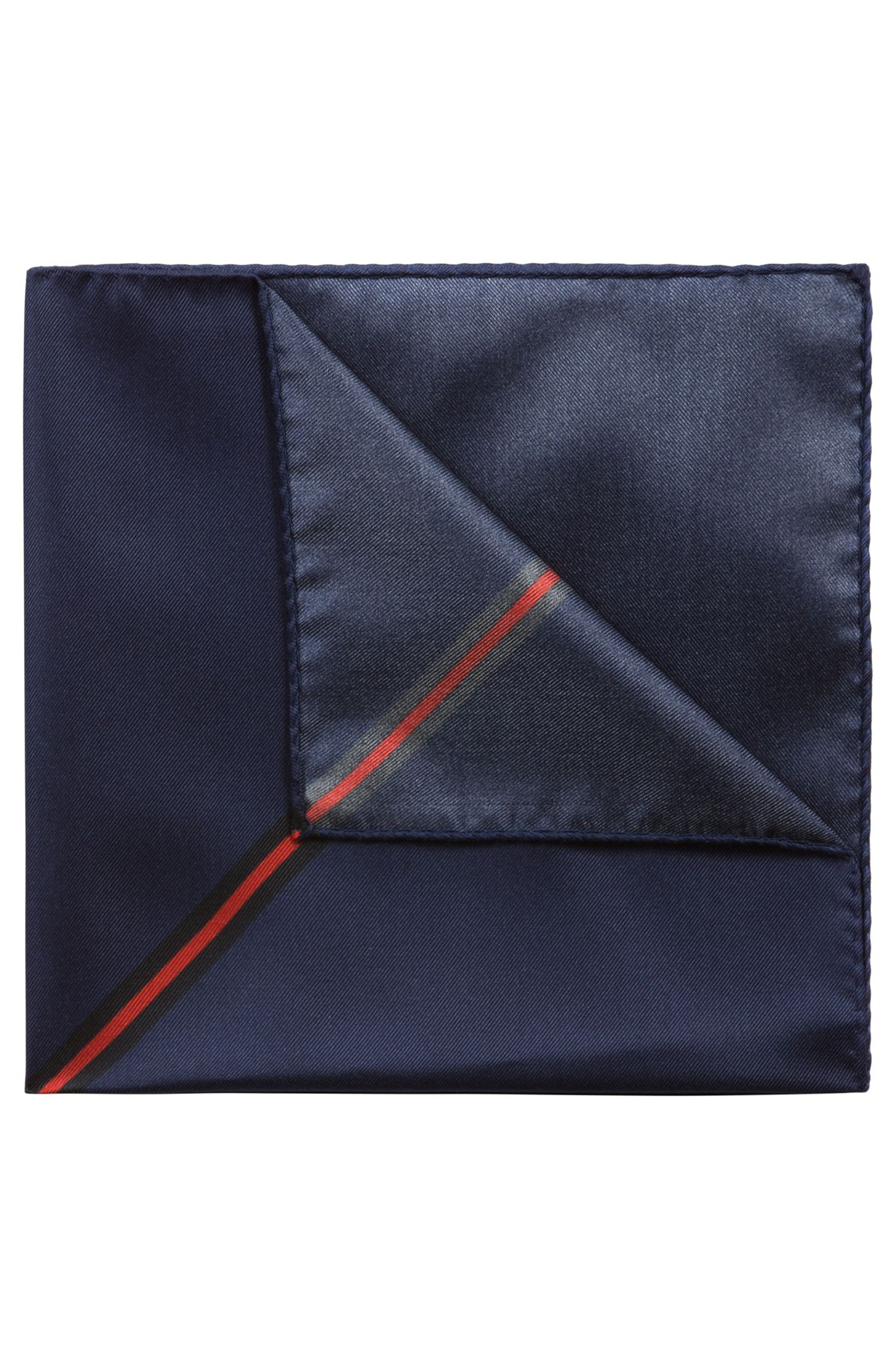 Digitally printed pocket square in silk twill, Dark Blue