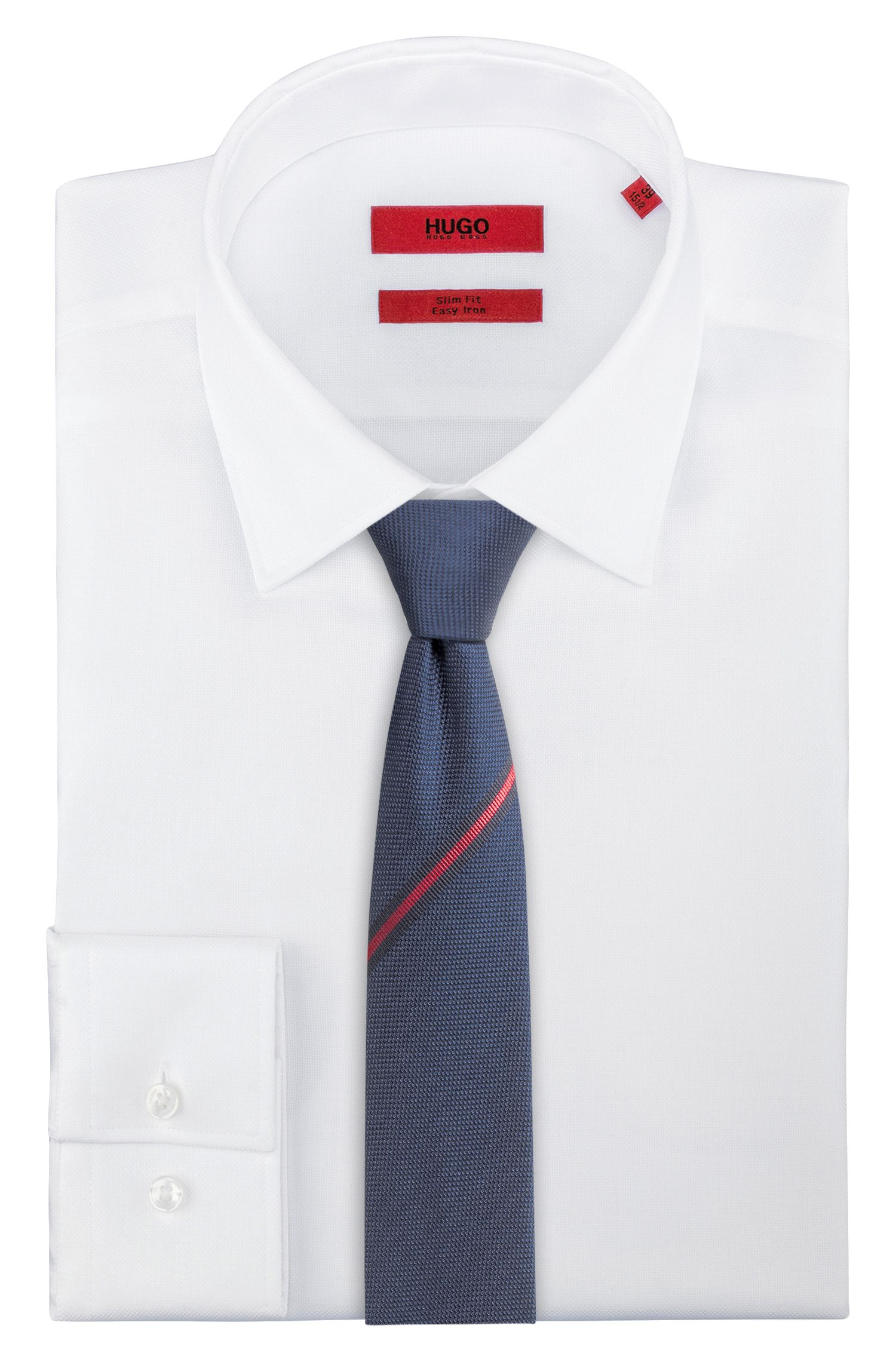 Cravatta ispirata all'abbigliamento sportivo in jacquard di seta, Blu