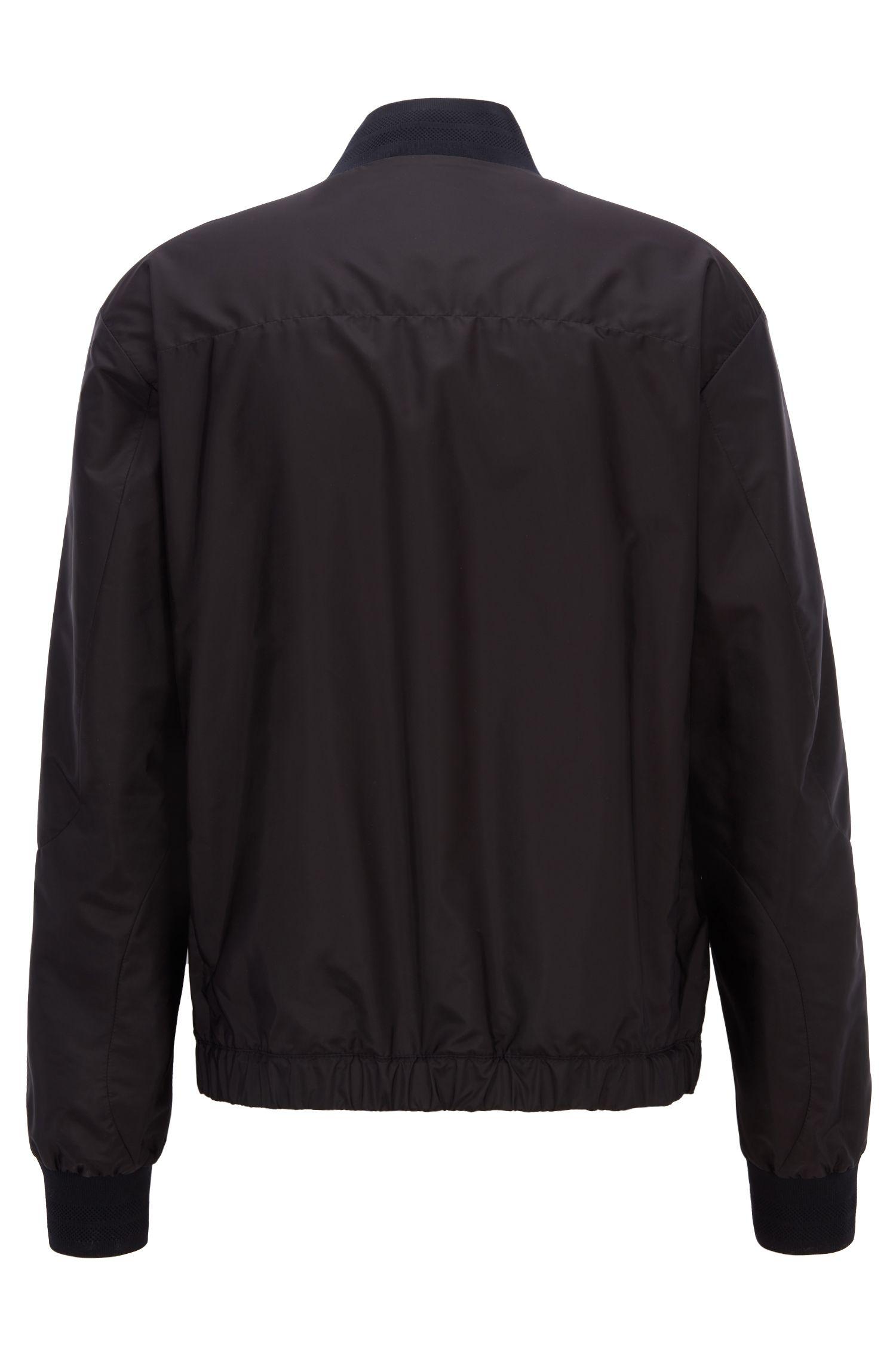 Lightweight blouson jacket in water-repellent ripstop fabric, Black