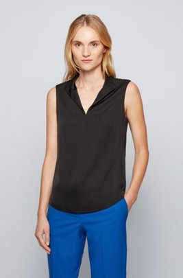 Sleeveless top in stretch-silk crepe de Chine, Black
