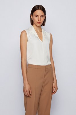 Sleeveless top in stretch-silk crepe de Chine, White