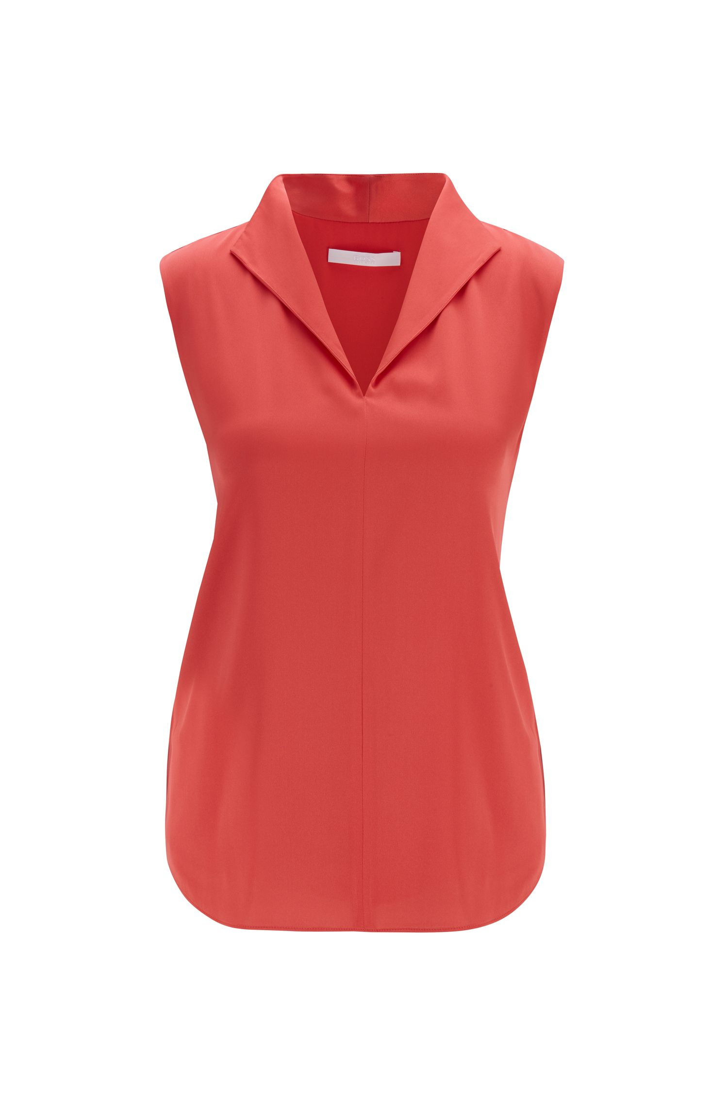 Sleeveless top in stretch-silk crepe de Chine, Pink