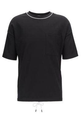 Relaxed-fit T-shirt in wafelkatoen met zoom met tunnelkoord, Zwart