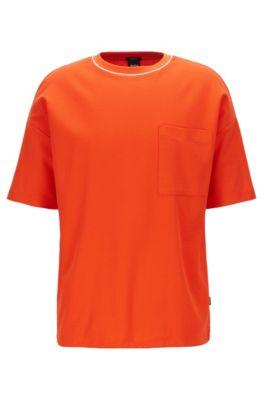 T-Shirt aus strukturierter Baumwolle mit Tunnelzug am Saum, Orange