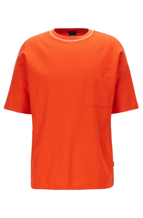 Relaxed-fit T-shirt in waffle cotton with drawstring hem, Orange