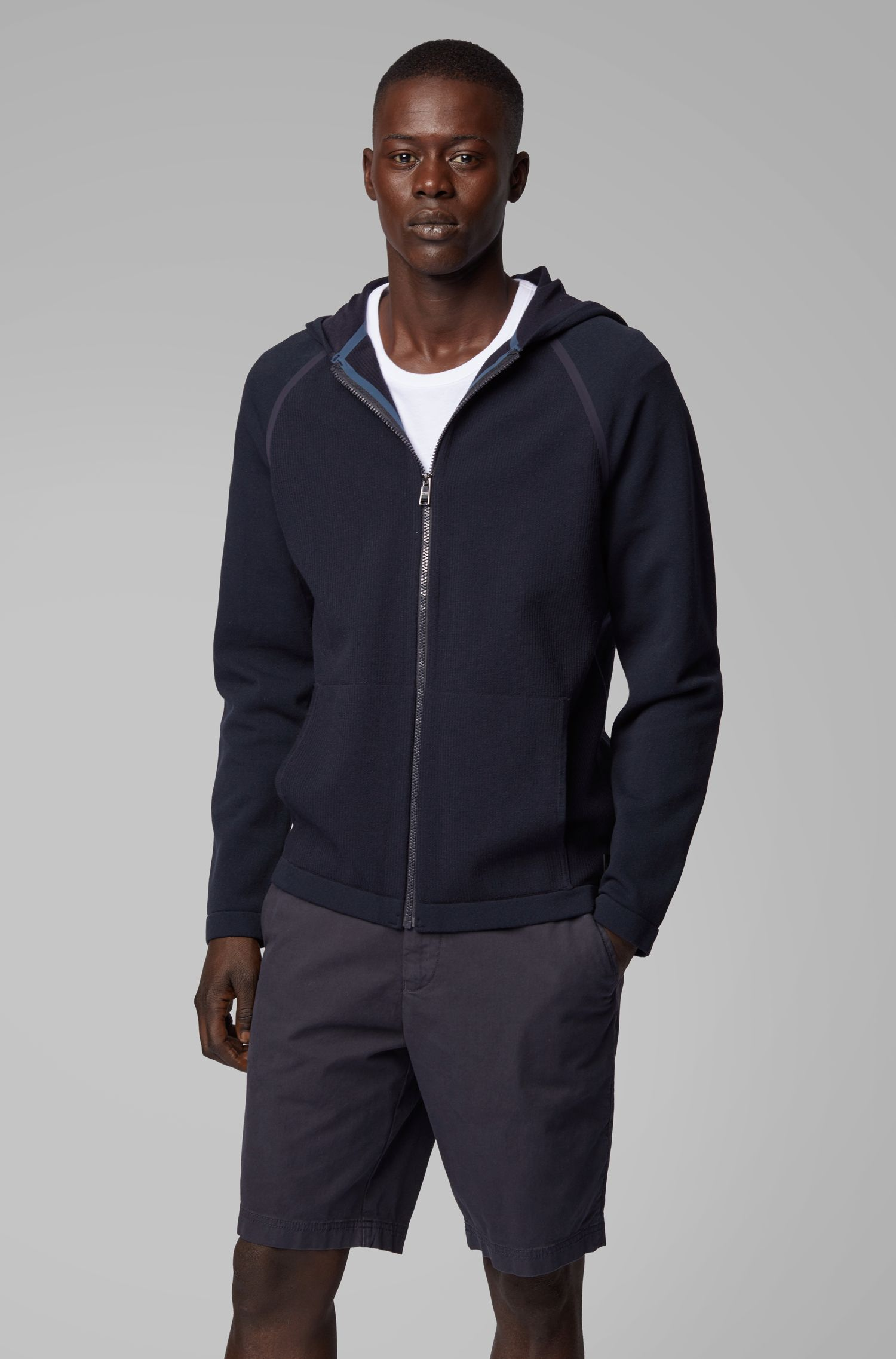Hybrid zip-through sweatshirt with taped seams, Dark Blue