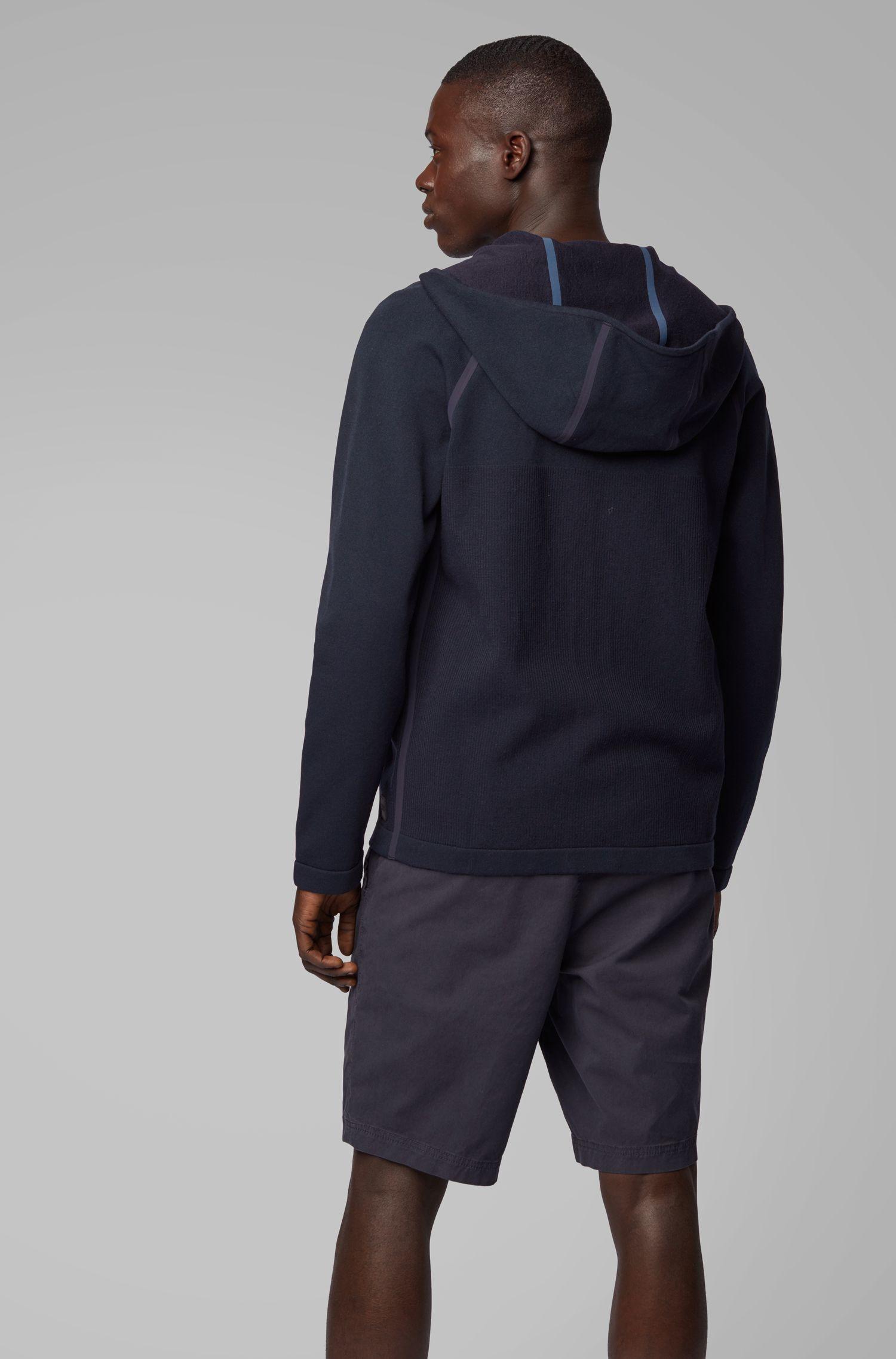 Sweat zippé hybride à coutures étanches, Bleu foncé