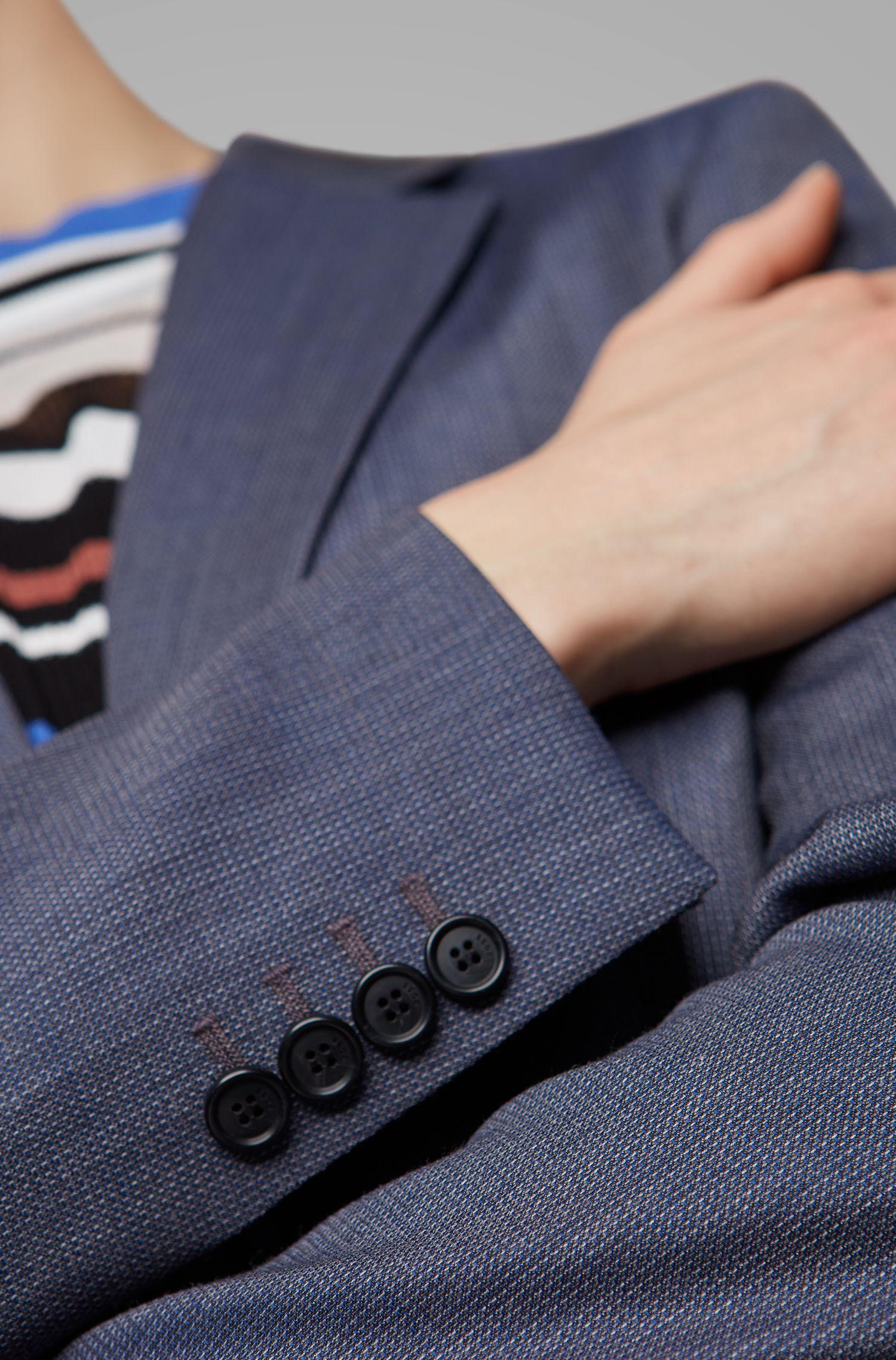 Regular-Fit Blazer aus fein gemusterter italienischer Schurwolle, Gemustert
