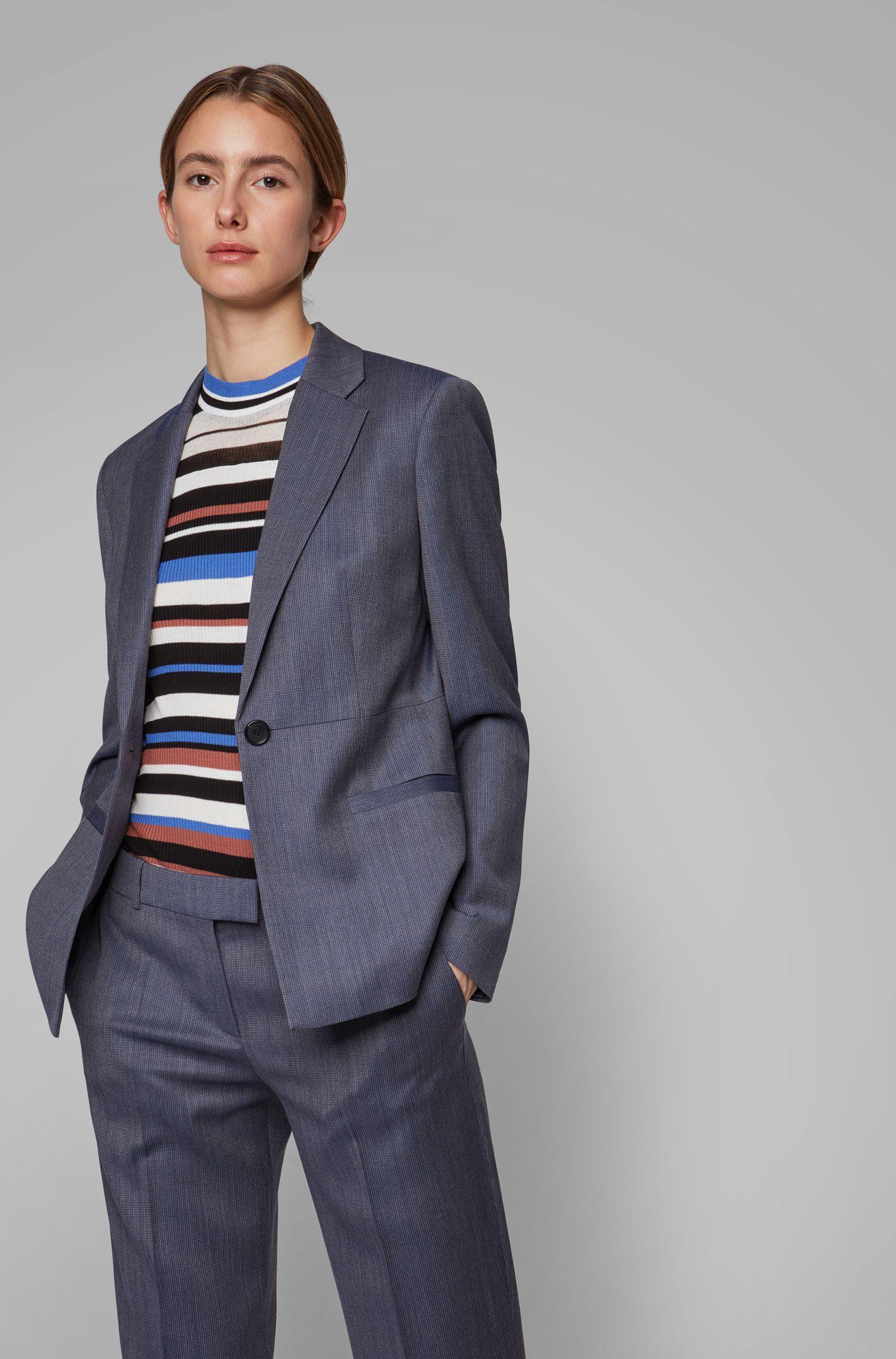 Regular-fit blazer van Italiaanse scheerwol met microdessin, Bedrukt