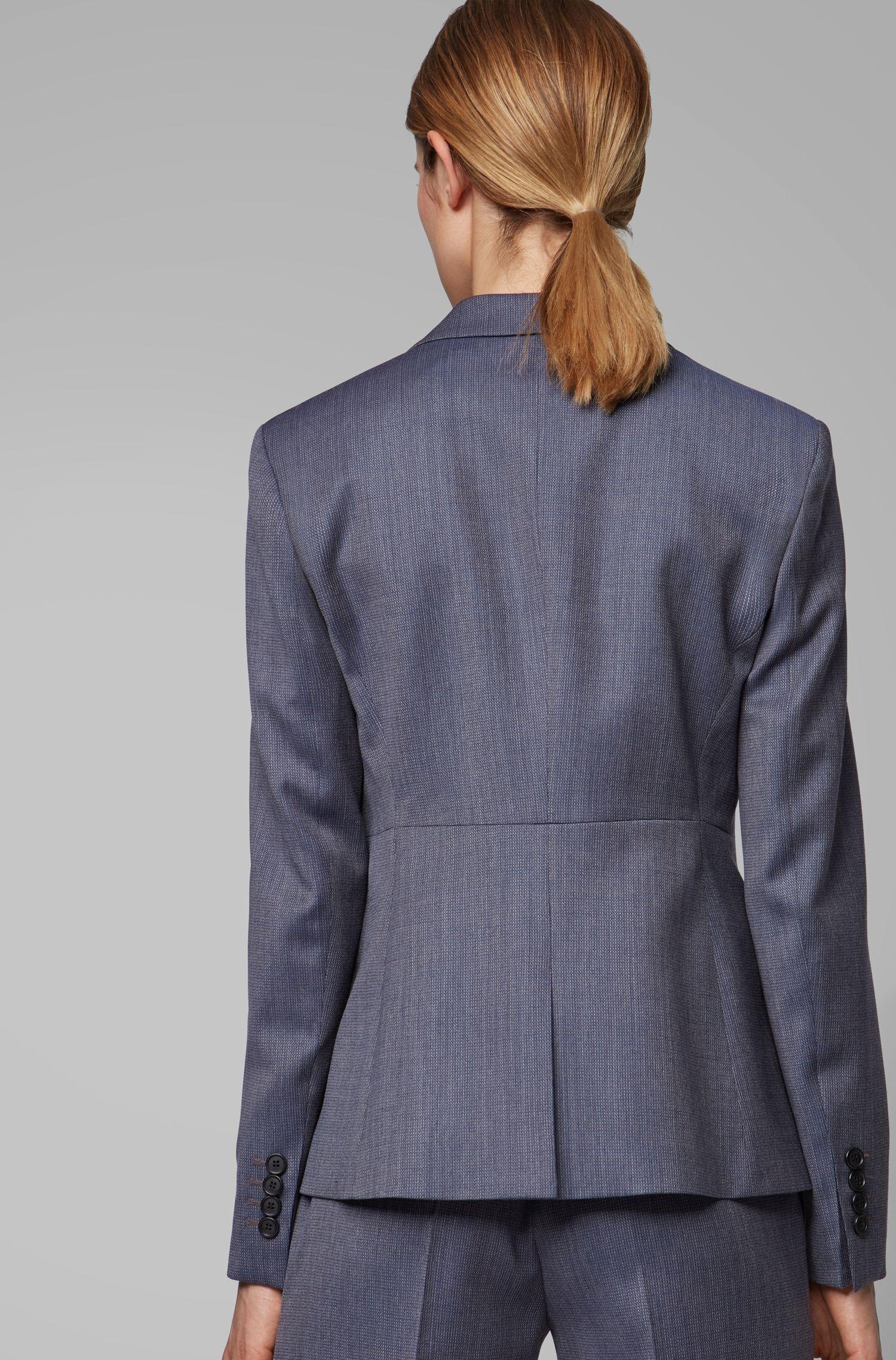 Regular-fit jacket in micro-patterned Italian virgin wool, Patterned