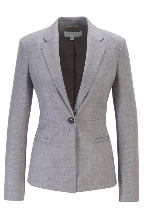Regular-fit jacket in micro-patterned Italian virgin wool, Light Grey