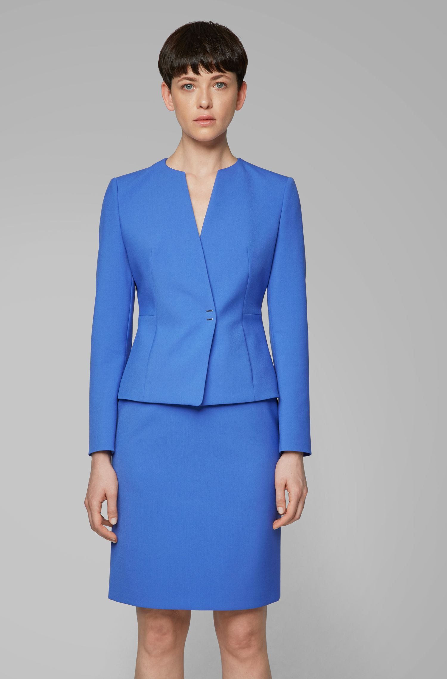 Slim-fit jacket in Portuguese fabric with hardware closure, Blue